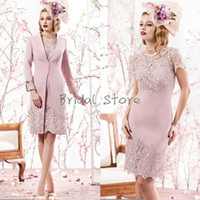 Modern Dusty Rose Petite Knee Length mother of bride dresses...