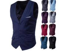 Vente chaude Groom Gilets Single Breasted Mens Costume Gilets Slim Solide Casual De Mariage Fête Groom Vest