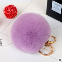lovely rex rabbit fur ball keychain black white cute soft fu...