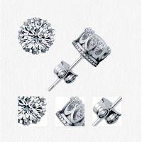 Band Yeni Altın Taç Erkekler Saplama Küpe 925 Ayar Gümüş CZ Benzetilmiş Diamonds Nişan Güzel Kadın Düğün Kristal Kulak Yüzük