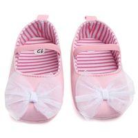 Doce rosa sapatos de bebê menina princesa grande arco floral primeiros caminhantes soled suave antiderrapante crianças bebe bebe calçados 0-12m