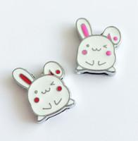 8 мм эмаль Белый Кролик слайд прелести DIY аксессуары Fit 8 мм браслет Pet Dog Name ошейники ремни телефон полосы