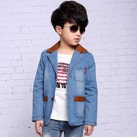 Nya snygga pojkar jacka kappa barnkläder fjädertautumn pojkar blazer mode pojkar denim kappa barn ytterkläder jeans jacka