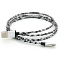 câble 3M 10FT micro usb 5 broches coloré Aluminium Tissu Date de synchronisation Câble de chargeur pour 300pcs Sumsung Galaxy HTC Huawei / lot