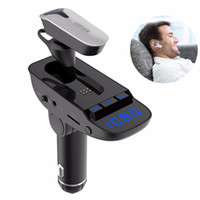 طقم سماعة بلوتوث راديو FM مع جهاز إرسال راديو FM يدعم بطاقة TF / SD وشاحن سيارة USB لجميع الهواتف الذكية