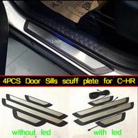 Reposapiés de puerta de coche de acero inoxidable de alta calidad 4pcs estropea placa protectora del pedal de protección para Toyota CHR C-HR 2017-2019