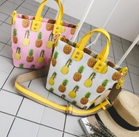 2018. New pattern. Pineapple printing. Tote bag. Handbag. Casual fashion woman bag. PU. Medium-sized. Shoulder Bags. handbags.