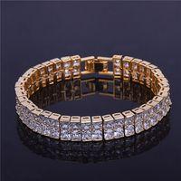 Praça Tennis Bracelet Hip hop Jóias 10 milímetros Moda 2 Row CZ dos homens de pedra cúbica Zircon Copper Material de Ouro Prata Presente Para