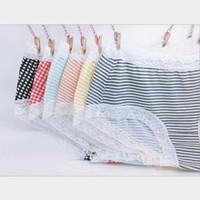 c433766efbf69 Wholesale lovely wholesale plus size online - Women Panties Cotton Briefs  Dot Striped Print Panties Lace
