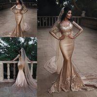 세련된 두 조각 인어 웨딩 드레스 레이스 쉬어 롱 슬리브 블라우스 가운 스윕 기차 두바이 아랍어 Vestidos 맞춤 제작
