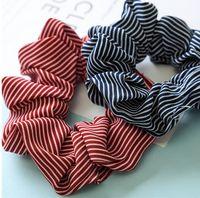 패션 소녀 3 차원 줄무늬 패브릭 머리 scrunchy 포니 테일 홀더 머리카락 껌 탄성 머리 밴드 고무 밴드 6C2567