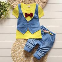 Moda bebê meninos conjuntos de roupas de verão cavalheiro arco 2 pcs meninos roupas de verão set crianças esporte terno conjunto conjunto de treino