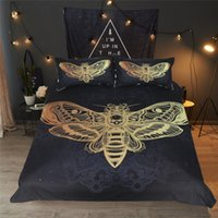 Bed Set Death Moth Skull Duvet Cover Bedding Set Black Golde...