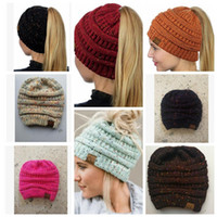Women CC Ponytail Beanie Hat Knitted Cap Skull Stretchy Wint...