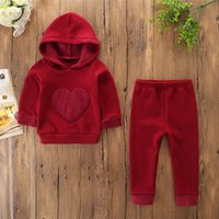 Autumn and winter children' s cotton suit wine red fluff...