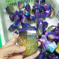 1pcs 40-50g 5-7cm Vacker färg Titanium Crystal Quartz Rock Mystic Quartz, Natural Freeform Spikes Points Borrade Brioletter