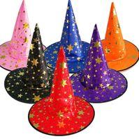 Хэллоуин ведьма указал Cap костюмы украшения партии шляпы ведьма Волшебник звезда шляпы для детей женщины оптовая партия поставки