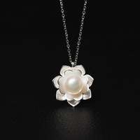 Fashion jewelry S925 Pearl Flower Necklace, collarbone chain ...