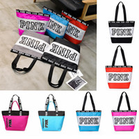 Pink letter handbag Women Letter Printed Waterproof Zipper C...