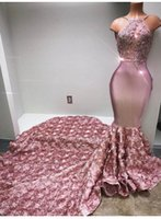 Luxury 2018 Pink Long Prom Dresses Lace Handmade Flowers Sat...