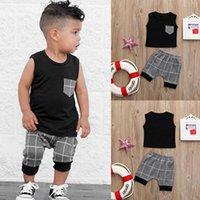 Verão Roupas de Bebê Meninos Cor Sólida Colete T-shirt Tee Bebê Tops Cinza Xadrez Shorts 2 PCS Crianças Conjunto de Roupas T54