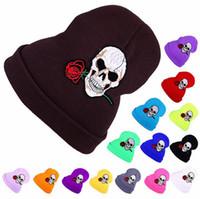 Tricoté Chapeau Bonnets Broderie Crânes Rose Hip Hop Hiver Chapeau Chaud Pour Adulte 15 Couleurs 20pcs LJJO3837