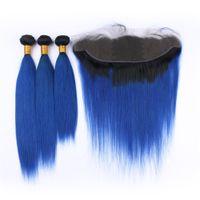 Ombre Kolorowe Blue Hair Bundles with Lace Frontal Brazylijski Silky Proste 1B Blue Włosy z uszem do ucha pełna koronka frontal 13 * 4