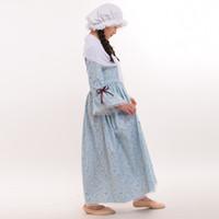 6-14年の子供の女の子ハロウィーンのカーニバルコスチュームコスプレのレトロな内戦植民地の再現農村パイオニアのドレス