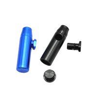 Snuff Pipes Metallo alluminio Bullet a forma di razzo Snuff Snorter Sniff Dispenser Tubo nasale per fumatori Sniffer bong in vetro Endurable Tobacco Pipe