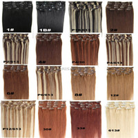 """인간의 머리카락 확장 스트레이트 믹스 컬러 브라운 금발 16 9A 클립 """"-24""""머리 전체 머리에 인도 레미 클립"""