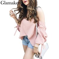 Sexy plaid off shoulder blouse shirt women striped backless ...
