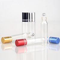 Bouteilles de rouleau de verre 10ml Roll sur le récipient de bouteille avec boule en métal pour les parfums d'Aromatherapy d'huile essentielle et les baumes de lèvre