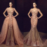 Tony Chaaya 2018 Mermaid Overskirts Prom Dresses Long Sleeve...