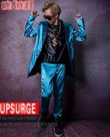 رجل هان طبعة من جديد أزياء شخصية مرساة بار المغني المرحلة ازياء الرقص الكهربائية تأثير طويل أزرق دعوى M - 2 XL