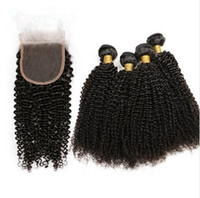 4 Bundles With Closure Human Hair Weave Kinky Curly Remy Hai...
