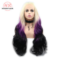 Honrin Hair Long Ombre Wigs Blonde To Purple Body Wave Synth...