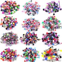 105 UNIDS Body Jewelry Piercing Ceja Navel Belly Tongue Lip Bar Anillo 21Style