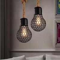 حبل قلادة ضوء علوي خمر اديسون لمبة شكل شنقا أضواء قفص معدني مصباح لمطعم بار القهوة غرفة الطعام الإضاءة تركيبات