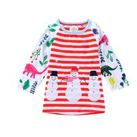 Xmas Baby girls stripe dress Children Christmas snowman dino...