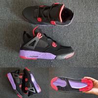"""Высокое качество новой баскетбольной обуви 4 NRG Raptors черный фиолетовый красный для мужчин, женщин J4 4S """"23"""" спортивные кроссовки с размером коробки 36-47"""