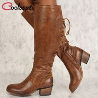 Coolcept Size 34- 43 Woman High Heel Boots Zipper Round Toe T...