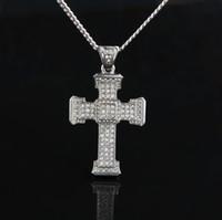 Collar colgante cruzado de diamante completo para hombre Dorado Cubano Cuba Cadena Collares Iced Out Colgante Hip Hop Jewelry