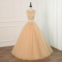 Robe de bal Bling or robes de bal bijou de cou cristal tulle creux dos deux pièces bon marché concepteur ruché longue soirée robes de soirée robe