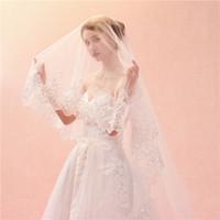 3 Metri Bianco Avorio Cattedrale veli da sposa Paillettes Blings Sparkling bordo del merletto Purfle lungo Cattedrale Wedding Veils