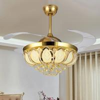 Lampe de ventilateur européenne en cristal, lampe de ventilateur 42 pouces salle à manger salon chambre maison calme télécommande contrôle ventilateur de plafond lampe