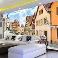 3D Country Style Wall Mural Countryside Street And Houses Ph...
