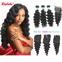 Brazilian Virgin Loose Deep Wave Hair Bundles With Closure R...