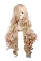 Женская Лолита Длинные Волнистые Вьющиеся Общий Стиль Хэллоуин Костюм Косплей Партии Волос Полный Парик 32 Дюймов (Блондинка Розовый)