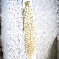Sarışın İnsan Saç I İpucu Saç Uzantıları Öncelikli Remy İnsan Füzyon Keratin Sopa Ucu Saç Uzantıları Kinky Kıvırcık Keratin Kapsül 100g