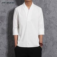 MRDONOO Hombre otoño tres cuartos manga ropa de lino estilo chino retro suelta media manga de lino de algodón corto corto